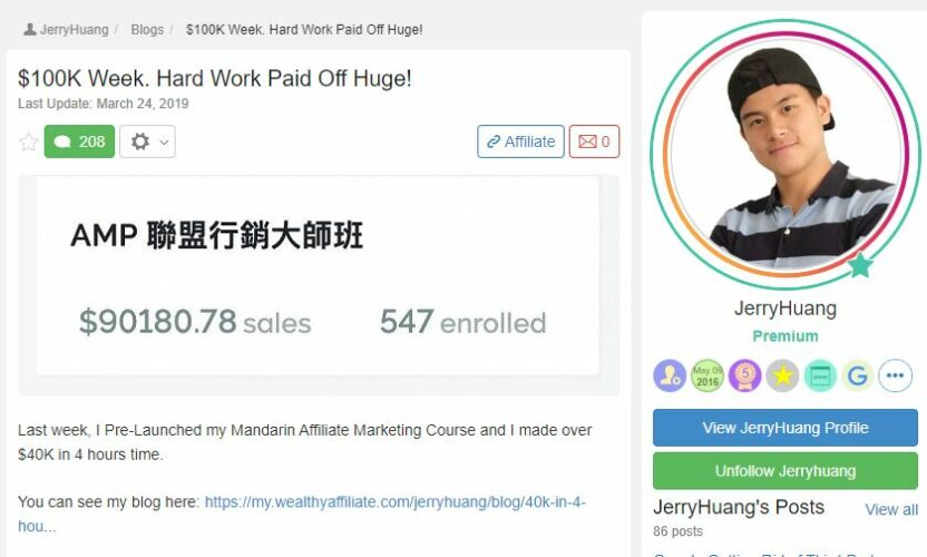 Wealthy Affiliate Review - JerryHuang Successstory