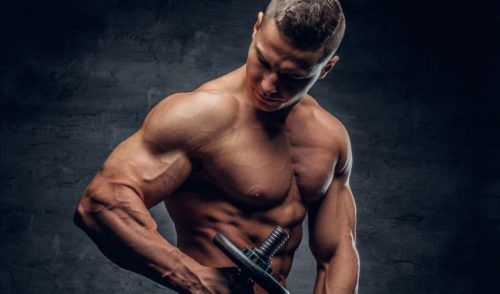 Chest and Shoulder Workout - Shoulder muscles gain for man with dumbbelss