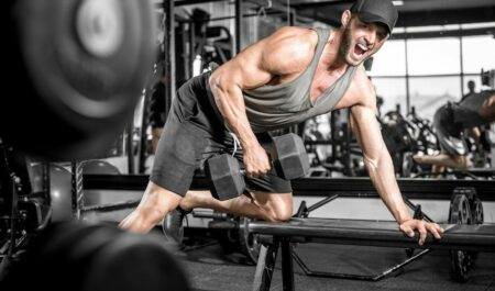 Body Building Back Exercise - Single-Arm Dumbbell Row