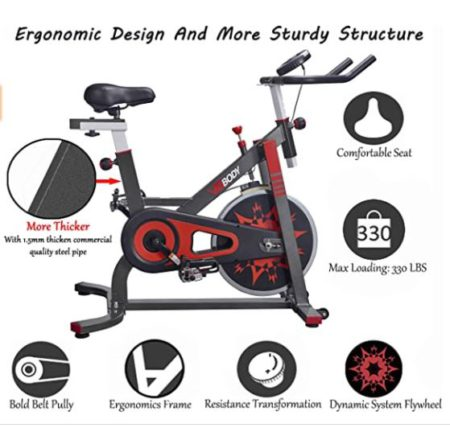VIGBODY Upright Exercise Bike Belt Rive Home Gym