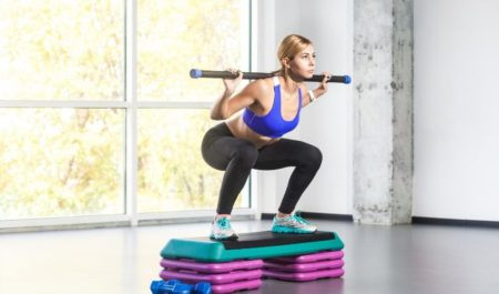 Side Step Ups - barbell step ups