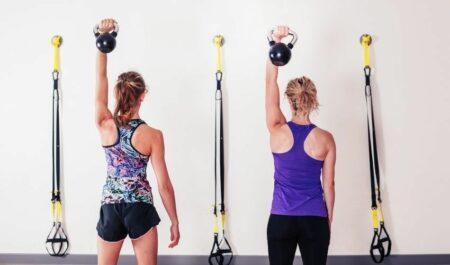 Chest Workouts For Women - Standing kettlebell press
