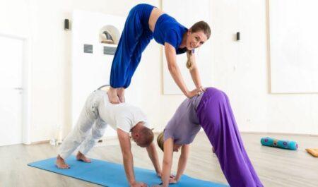 3 Person Yoga Poses - Down Dog Pyramid