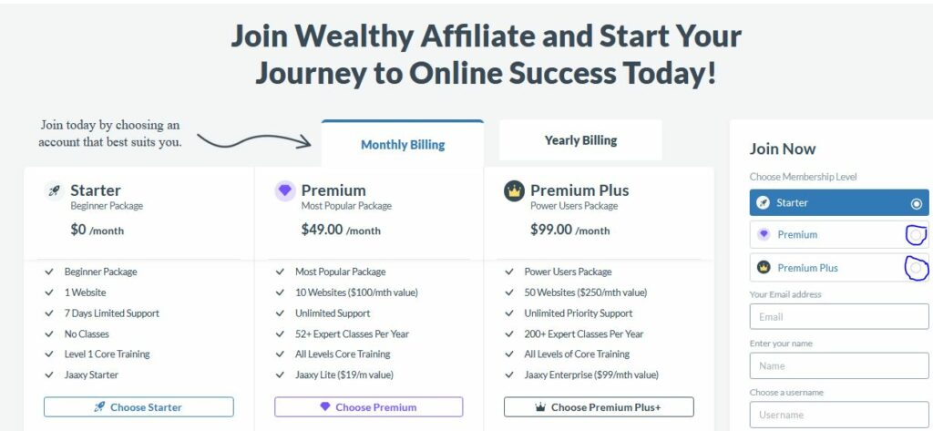 wealthy affiliate review - membership plan