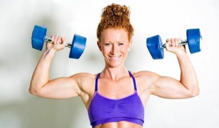 Female Bodybuilders Over 60 - Flat Dumbbell Press